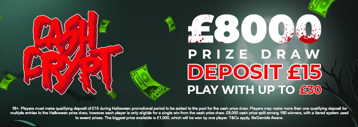 Win a share of £8,000 in our Cash Crypt prize draw!